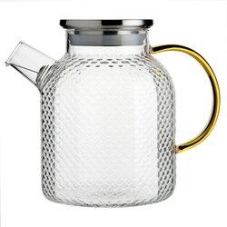 Чайник стеклянный с желтой ручкой 1600 мл, Объем мл: 1600 в чайном магазине BestTea, фото